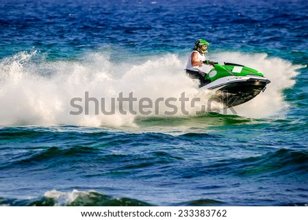 High speed jetski with water spray. Photo taken in Cyprus. - stock photo
