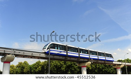 High Speed Monorail Train In Moscow, Russia. - stock photo