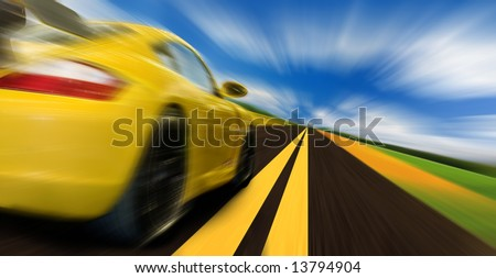 High-speed motion-blurred auto on rural highway - stock photo