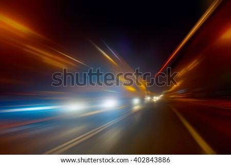 high-speed movement on the night road