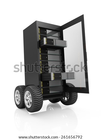 High-speed Server Concept. Cloud Computing, Storage Information Concept. Modern Server Rack with open Door on Wheels isolated on white background - stock photo