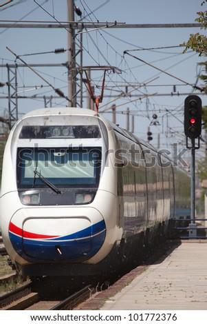 High-speed train , Ankara Turkey - stock photo