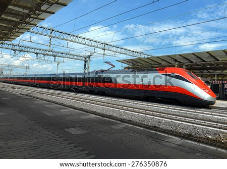 high-speed train at the railway station of the European city