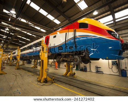 High Speed train being serviced at Etches Park depot,Derby,UK. taken 13/09/2014 - stock photo