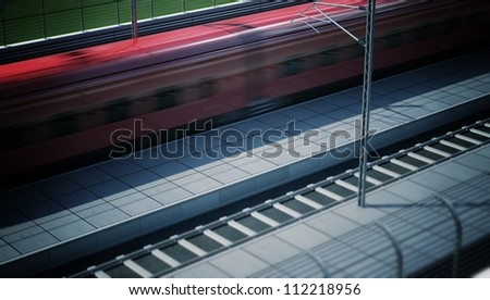 High Speed Train in the Station with Sky Background. Post-production: added grain and effects