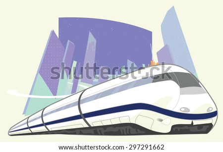 High-speed train on the background of the city - stock photo