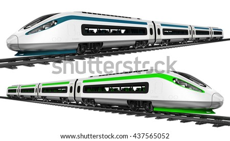 High-speed train. Set. 3d illustration. Isolated on white