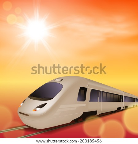 High-speed train. Sunset time. - stock photo
