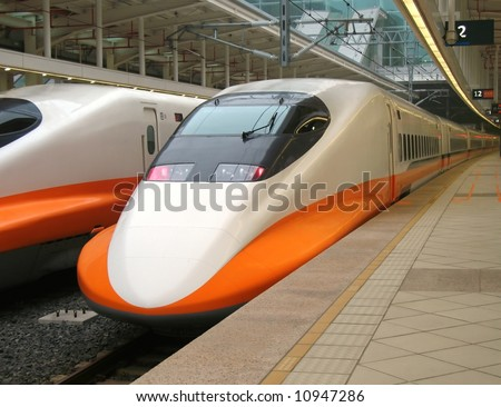 High Speed Train -- the streamlined design of a modern bullet train - stock photo