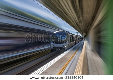 high speed train with motion blur - stock photo