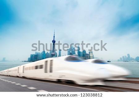 High speed trains in Shanghai - stock photo