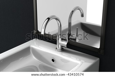 high spout faucet in front of a mirror