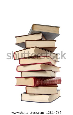 high stack of books isolated in white