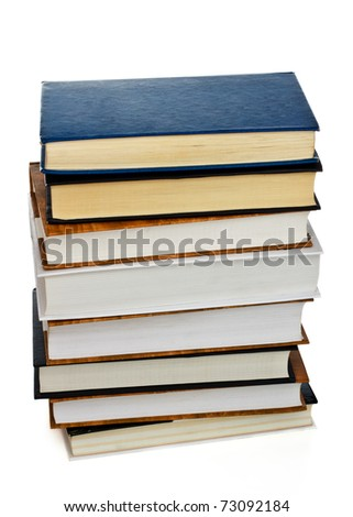 high stack of books isolated on white - stock photo