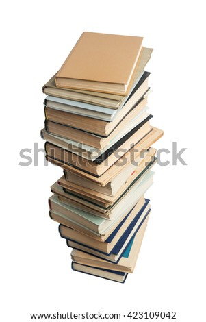 High stack of different books on a white background - stock photo
