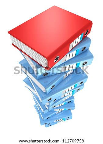 high stack of office folders on a white background