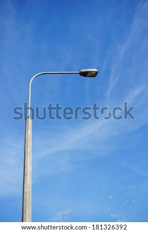 High street lamp and a blue sky