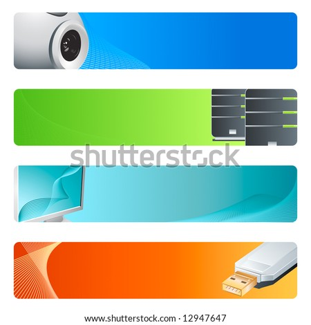 High-tech banner or header 4-color backgrounds set. - stock photo