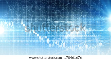 High tech blue background image with graphs and diagrams - stock photo