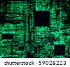 High tech computer circuit board with high impact resistors that has been back lit for a surreal electronic fantasy image.  Great for use as a blue background IT image - stock photo
