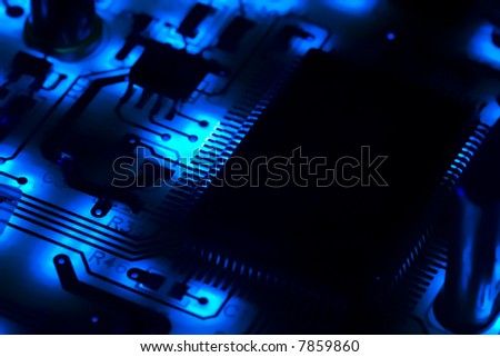 High-tech digital electronics, in blue - stock photo
