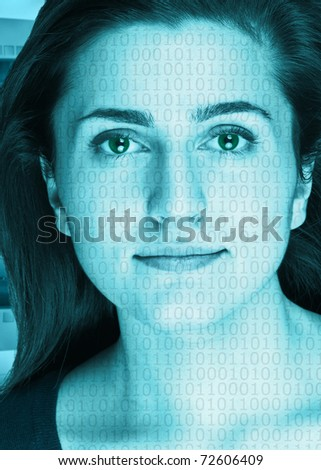 High-tech face technology woman with binary computer numbers - stock photo