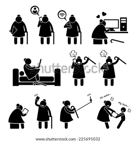 High Tech Granny Elderly Old Woman Using Computer and Smartphone Stick Figure Pictogram Icons - stock photo