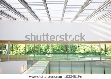 high-tech interior of a modern office building - stock photo
