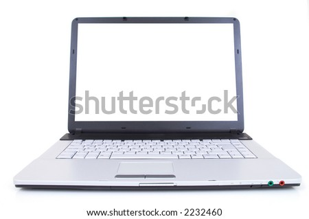 high tech laptop with blank screen, shot with wide angle lens, space for messages
