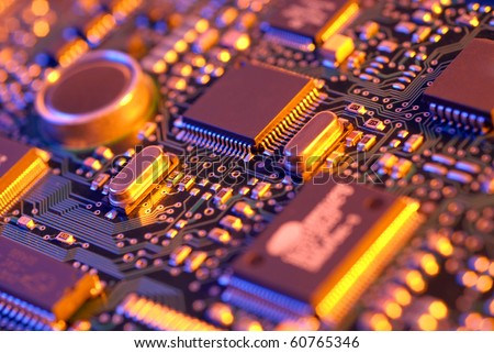 High tech mother board with chip components - stock photo