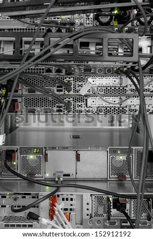 High tech network cables in a server