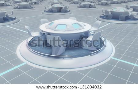 high tech table - stock photo