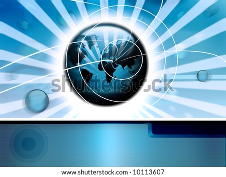 high-tech technology background with globes and world-map - stock photo