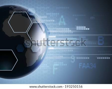 High technology background with the Earth and some code streams. Digital illustration. - stock photo