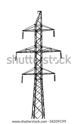 High-tension power line isolated on white background - stock photo