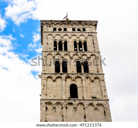 High tower in the city of Lucca, Italy