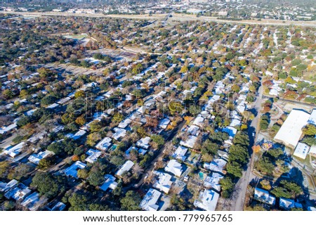 High view above suburb snow covered stock photo royalty free high view above suburb snow covered houses after rare snow weather event in austin texas aerial publicscrutiny Image collections