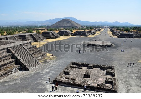 High view looking over Teotihuacan. - stock photo