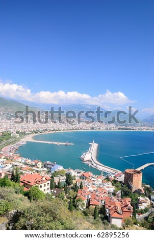 High view of Alanya bay. Turkey - stock photo