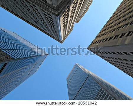High view of skyscrapers in New York City with Blue sky - stock photo