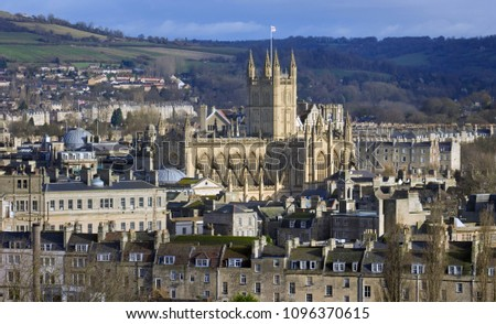 High view point of Bath Abbey surrounded by Georgian architecture and countryside in Bath, England, UK. Shot in November 2009