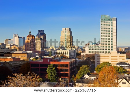 High viewpoint of downtown Sacramento - stock photo