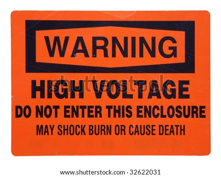 high voltage, do not enter - orange metal sign with scratches and marks, isolated with clipping path - stock photo