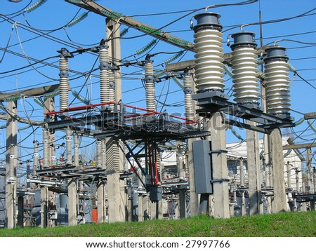 High voltage  electric converter wire equipment at a power plant - stock photo