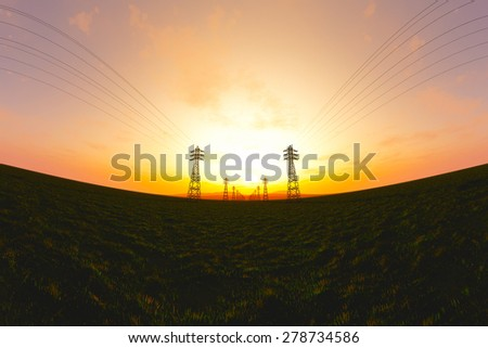 High Voltage Electric Poles in the Sunset Sunrise 3D artwork illustration fisheye view - stock photo