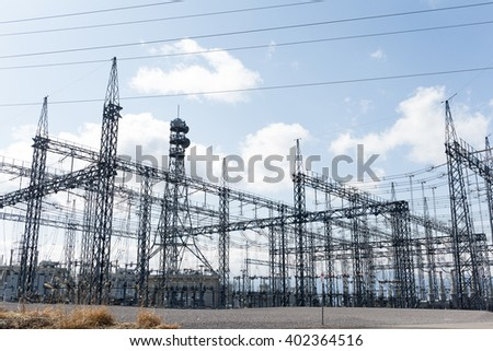 High voltage electric power substation - stock photo