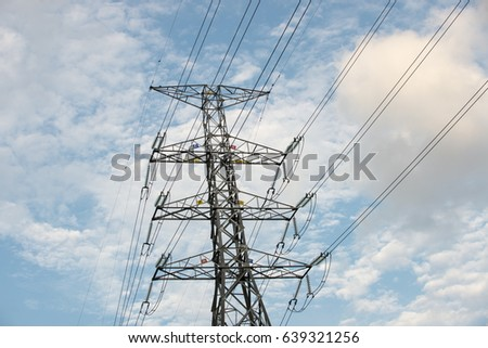 High voltage electric tower ,cloud & sky background.