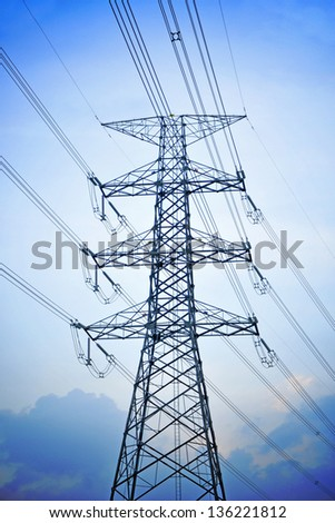 High Voltage Electric Tower. Power concept. - stock photo