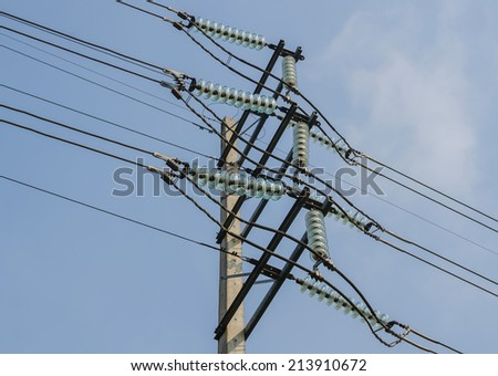 High-voltage electrical insulator electric line - stock photo