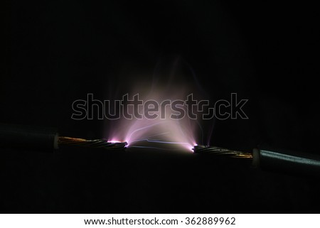 high voltage electrical spark - stock photo